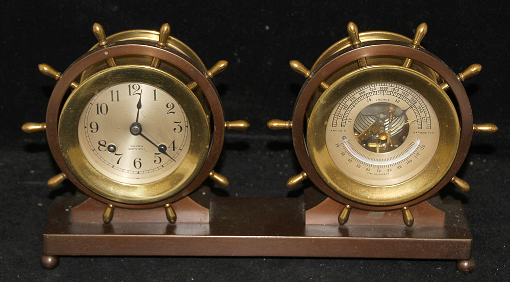 97. Chelsea Ship\'s Bell Clock and Barometer Desk Set. $472