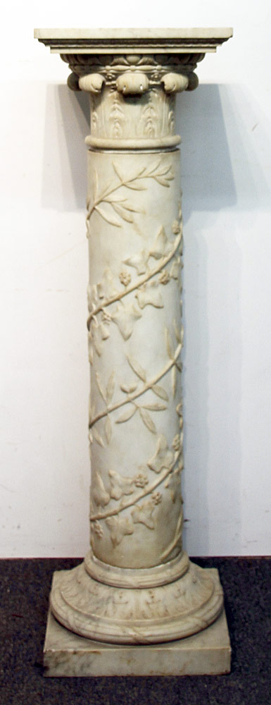 99. Three-piece Carved Marble Pedestal. $461.25