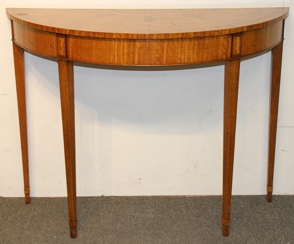 100. Federal-style Inlaid Mahogany Demilune Console. $492