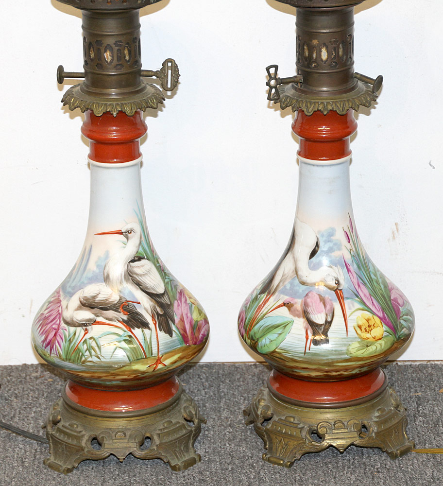 104. Pair of Victorian Hand-painted Oil Lamps. $215.25