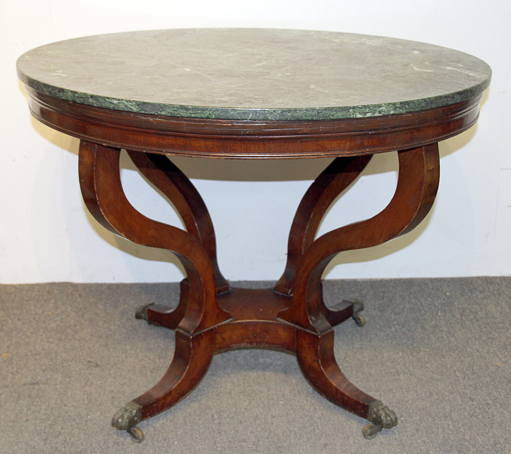 105. Regency Marble-top Center Table. $442.50