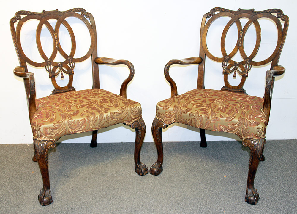 106. Pair of Georgian Mahogany Carved Armchairs. $3,068