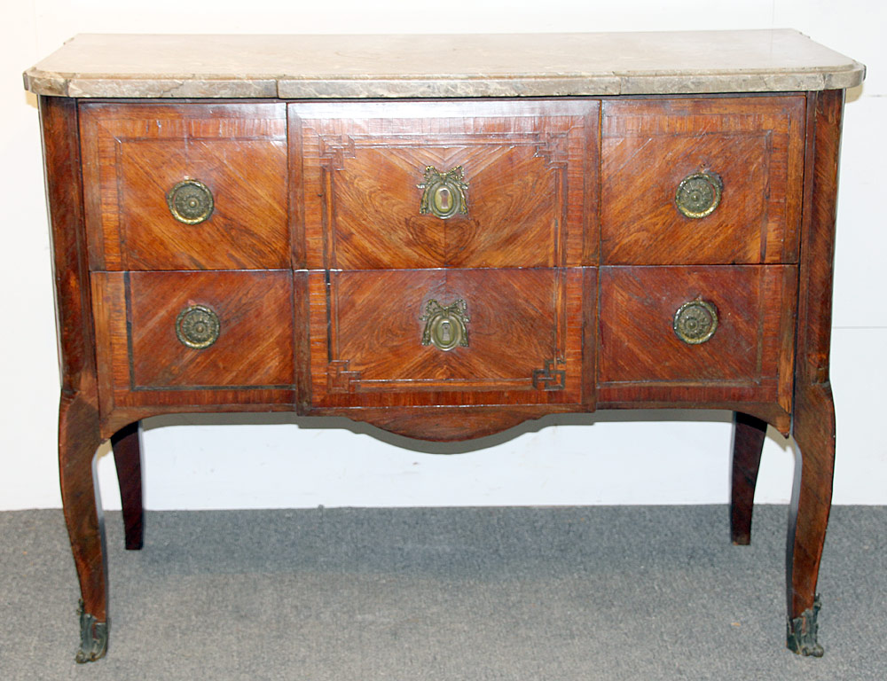 107. Louis XVI Marquetry Marble-top Commode. $413