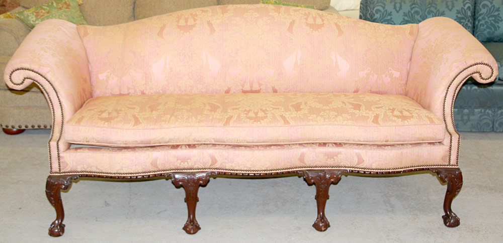 108. Baker Chippendale-style Sofa. $1,599