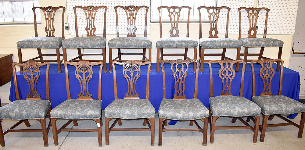 111. 12 Chippendale Carved Dining Chairs. $3,540