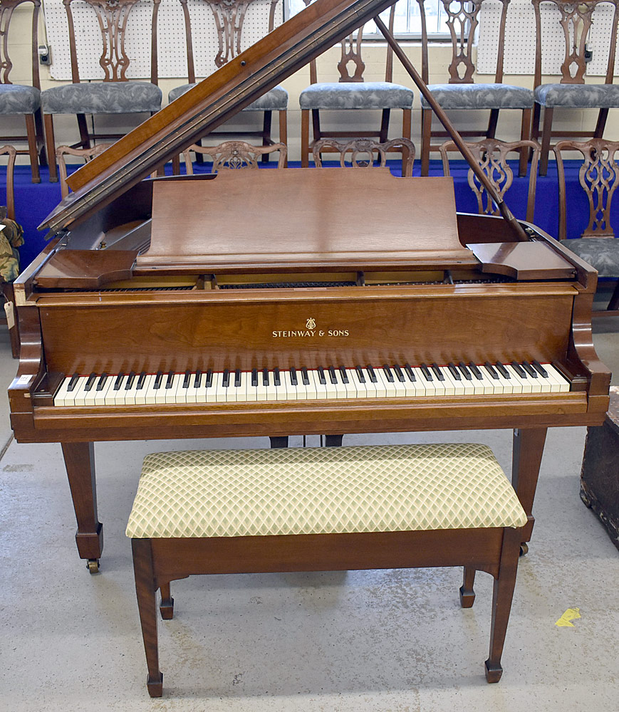 114. Steinway Model M Walnut Baby-Grand Piano #255329. $5,166