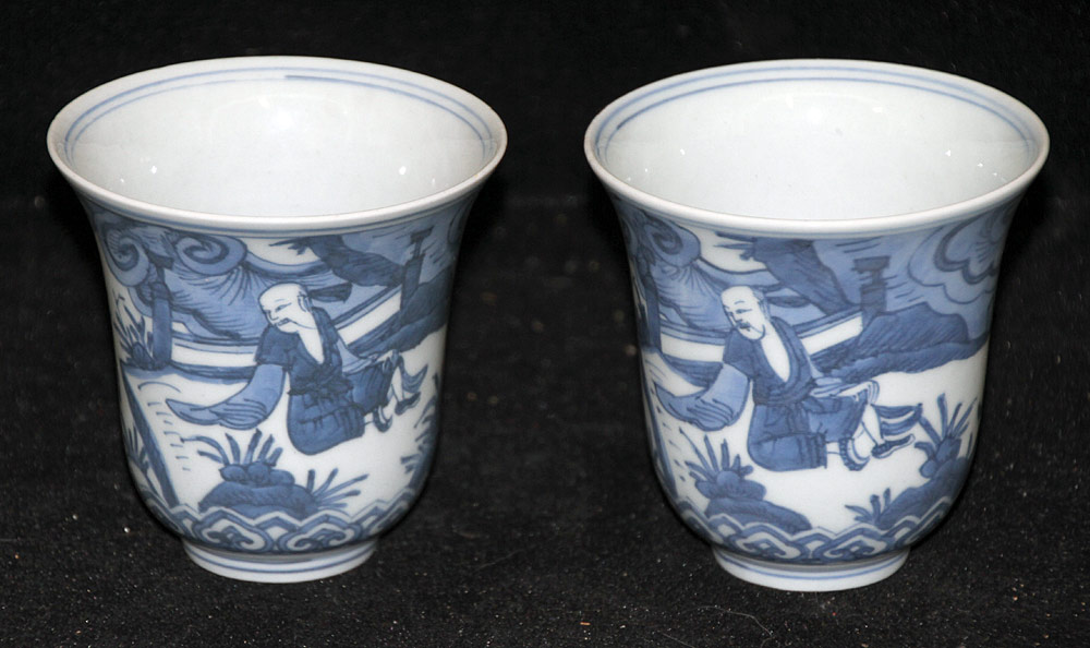 119. Pair of Chinese Porcelain Blue and White Cups. $861