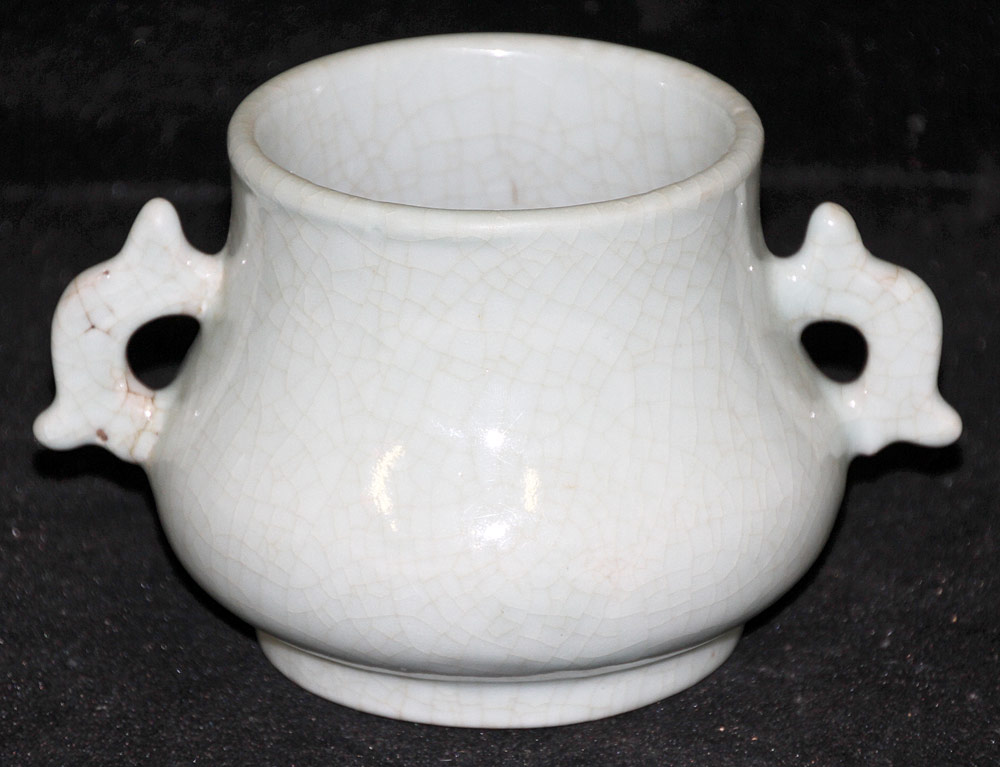 120. Chinese Porcelain Crackle Glaze Censer. $413