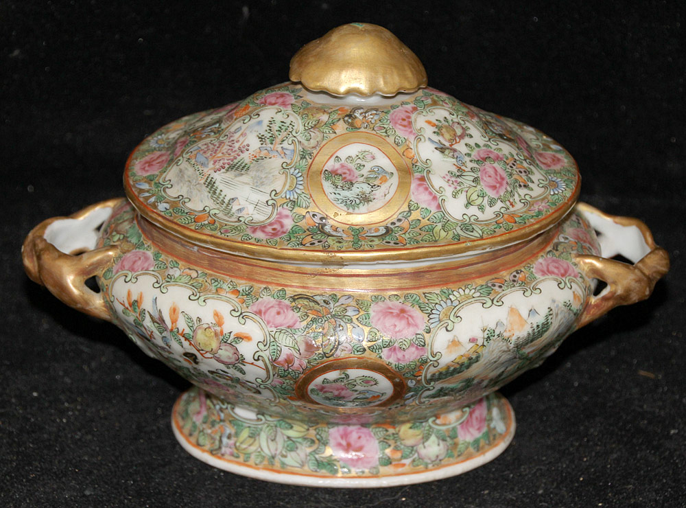 125. Miniature Chinese Rose Medallion Porcelain Tureen. $215.25
