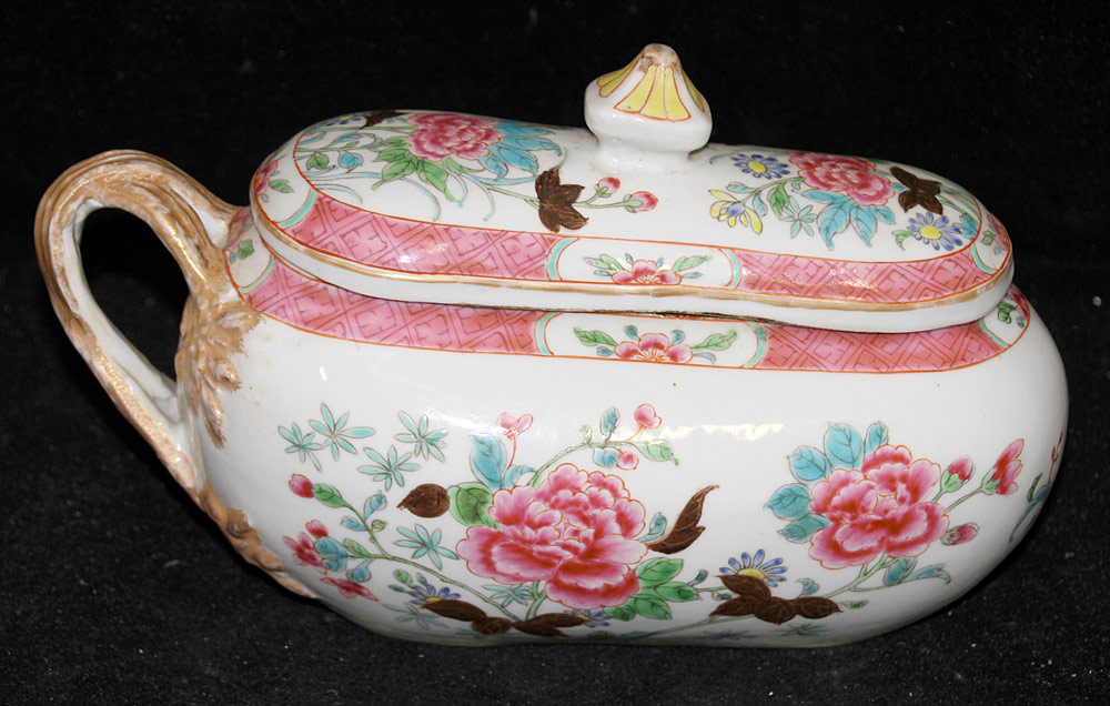 126. Chinese Export Famille Rose Porcelain Bourdaloue. $738