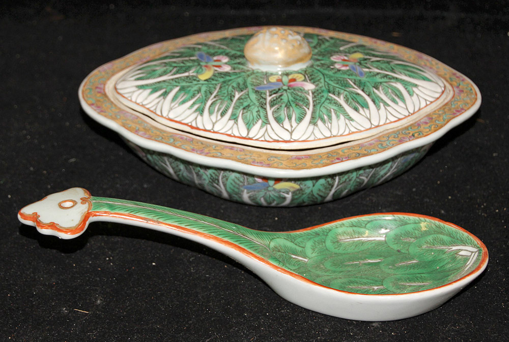 127. 2 Pcs. of Chinese Export Cabbage Leaf Porcelain. $246