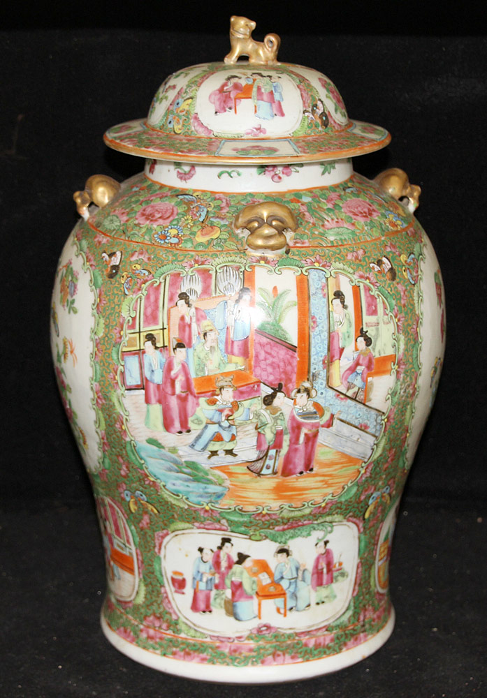 134. Chinese Porcelain Rose Medallion Ginger Jar. $1,180