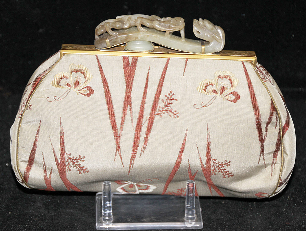 137. Chinese Silk Purse with Carved Jade Buckle Handle. $590