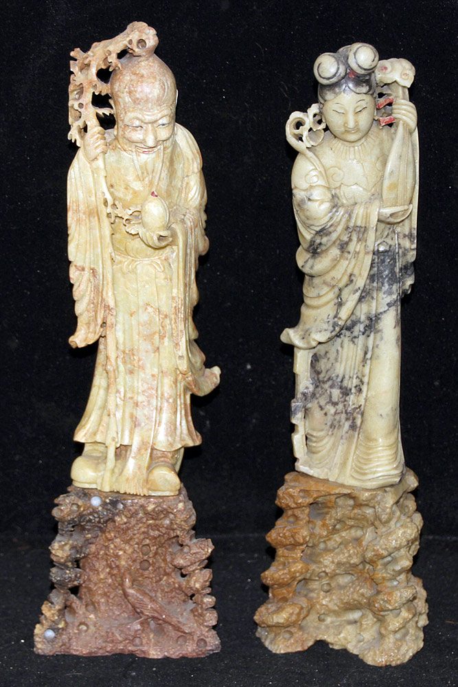 138. Two Chinese Carved Soapstone Figures. $354