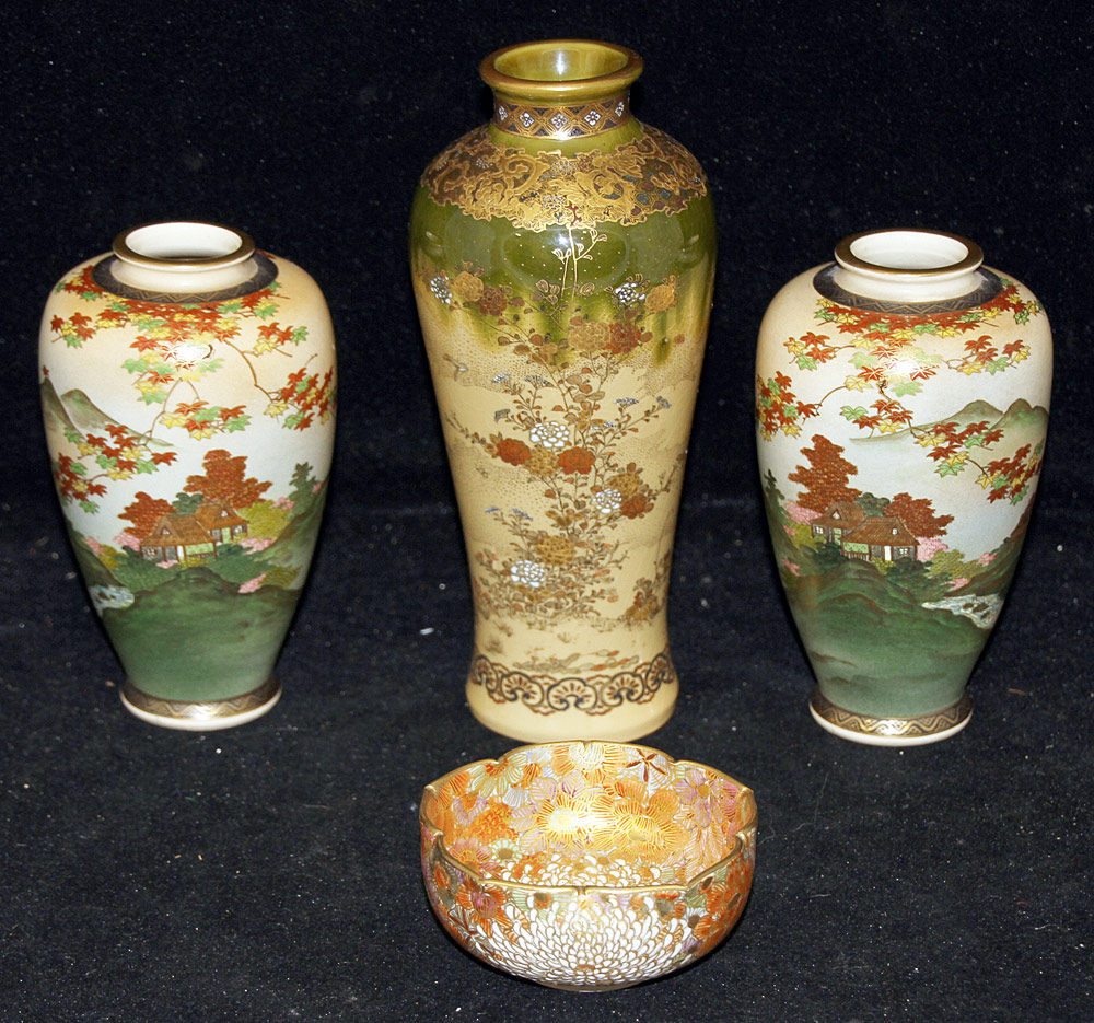 144. Four Pieces of Japanese Satsuma Porcelain. $206.50