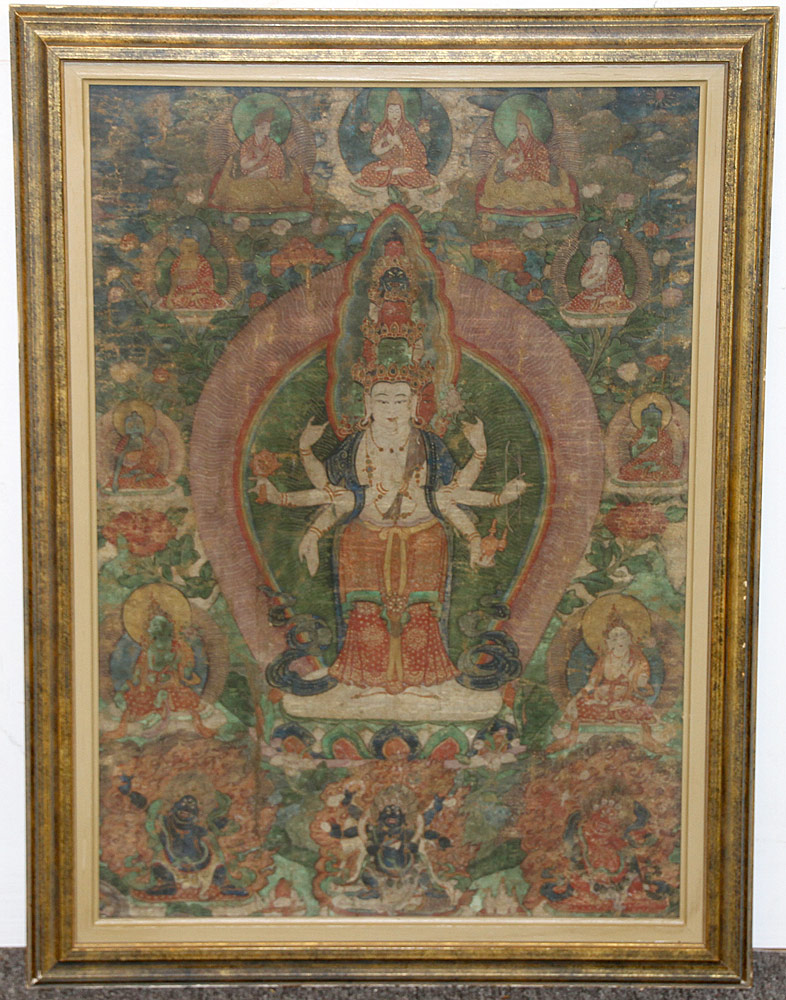 155A. Painted Tibetan Thangka. $2,337