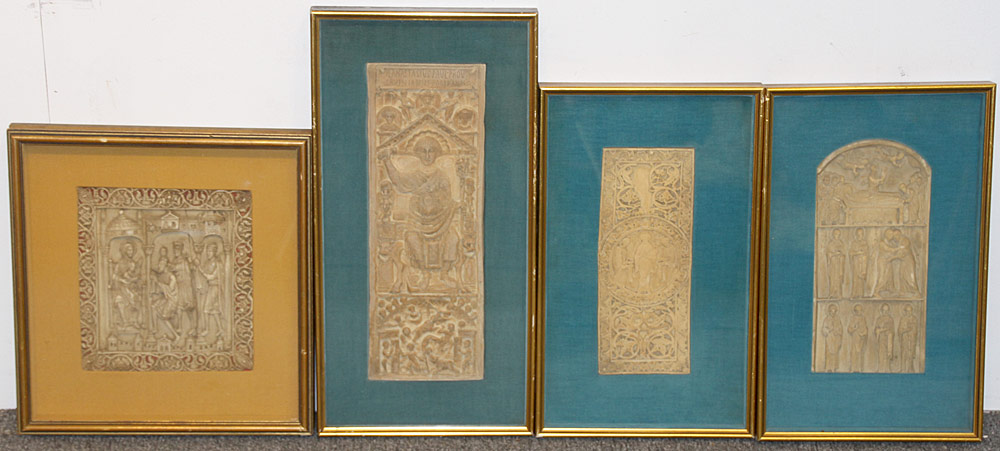 155C. Four Continental Relief Carved Plaques. $2,242