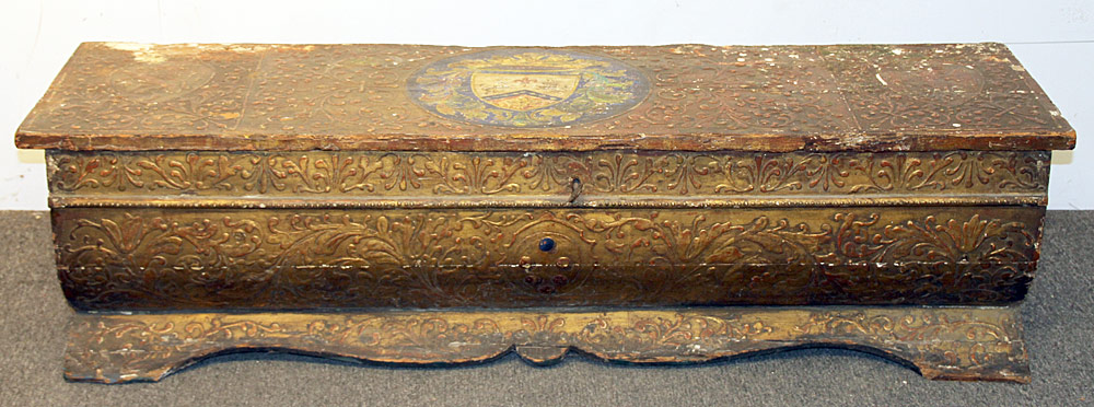 158. Italian Gilt Gesso and Polychrome Painted Cassone. $708