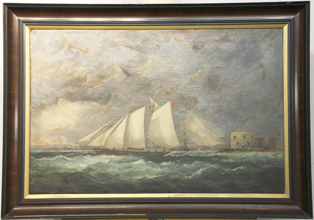 160. Arthur Wellington Fowles Oil/Canvas, Schooner. $4,956