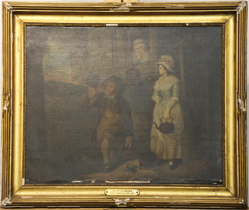 161. Attrib. Francis Wheatley Oil Canvas, The Kettle Mender. $399.75