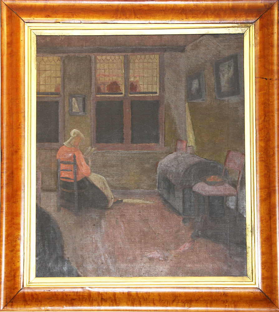 162. American School Oil on Canvas, Interior Scene. $123