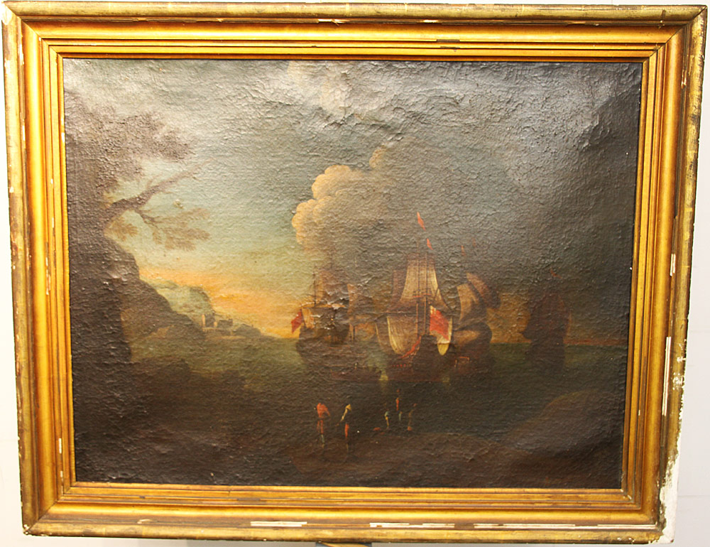 165. Oil on Canvas, Nautical Scene. $799.50