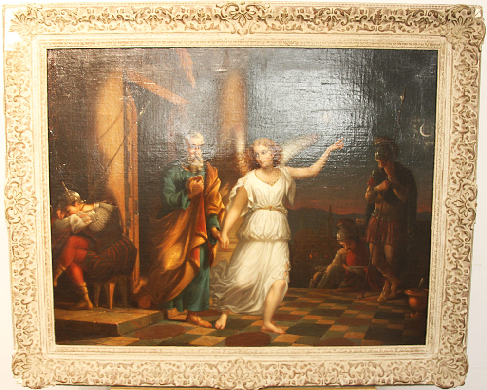 166. Continental School Oil on Canvas, Classical Scene. $944
