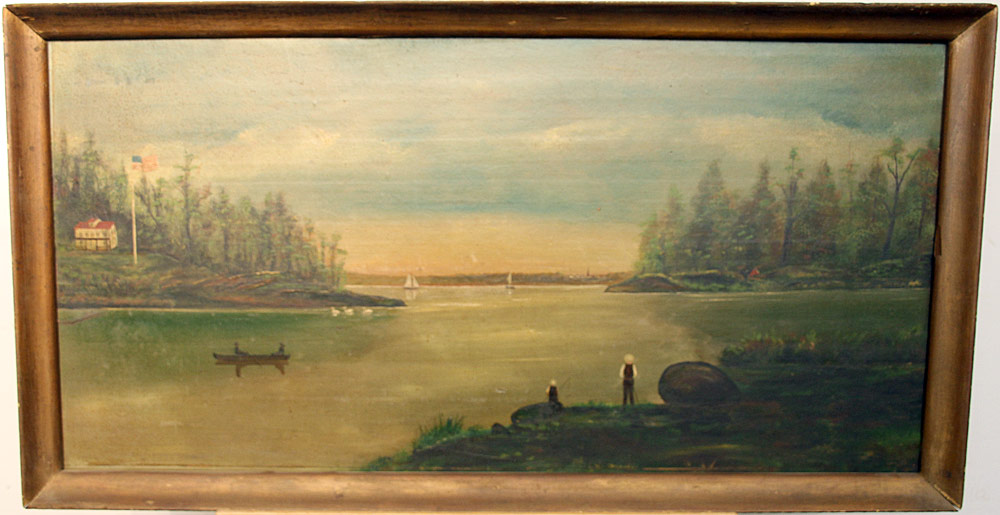 167. American School Oil on Panel, Primitive Landscape. $501.50