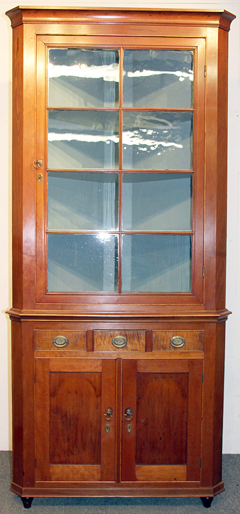 168. Federal Mixed-Wood Corner Cupboard. $649