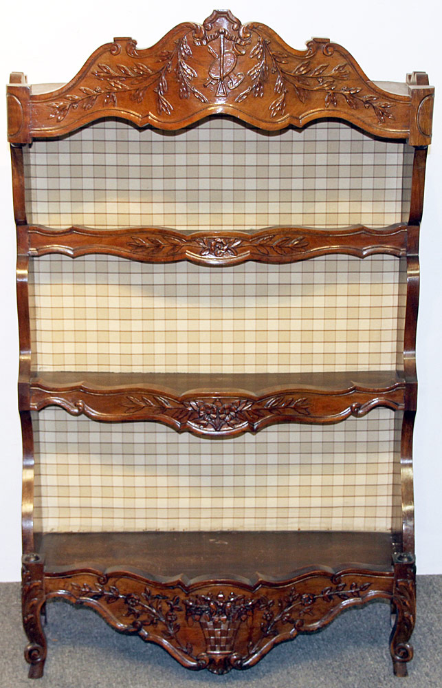 169. French Carved Walnut Open Shelf. $399.75