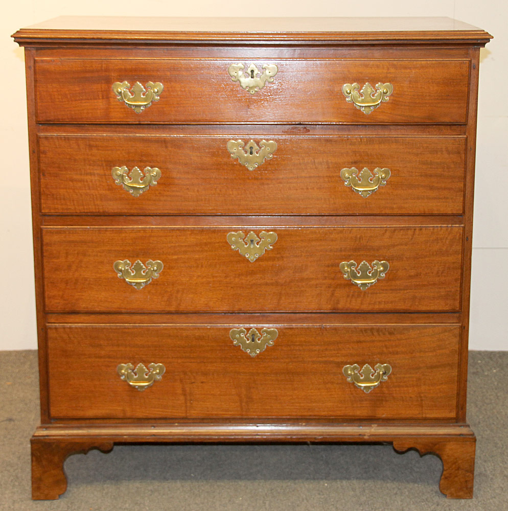 173. Chippendale Walnut Chest on Straight Bracket Feet. $767