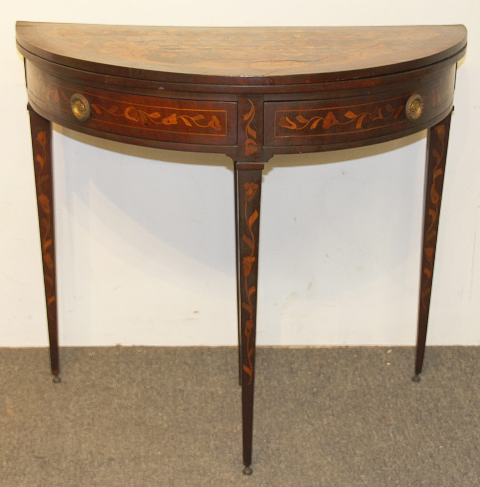 180. 19th C. Italian Marquetry Inlaid Game Table. $206.50