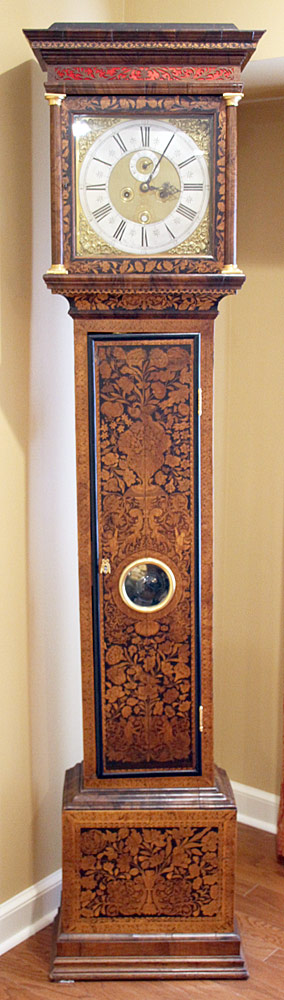 181. Daniel Quare Queen Anne Marquetry Tall Case Clock. $12,980