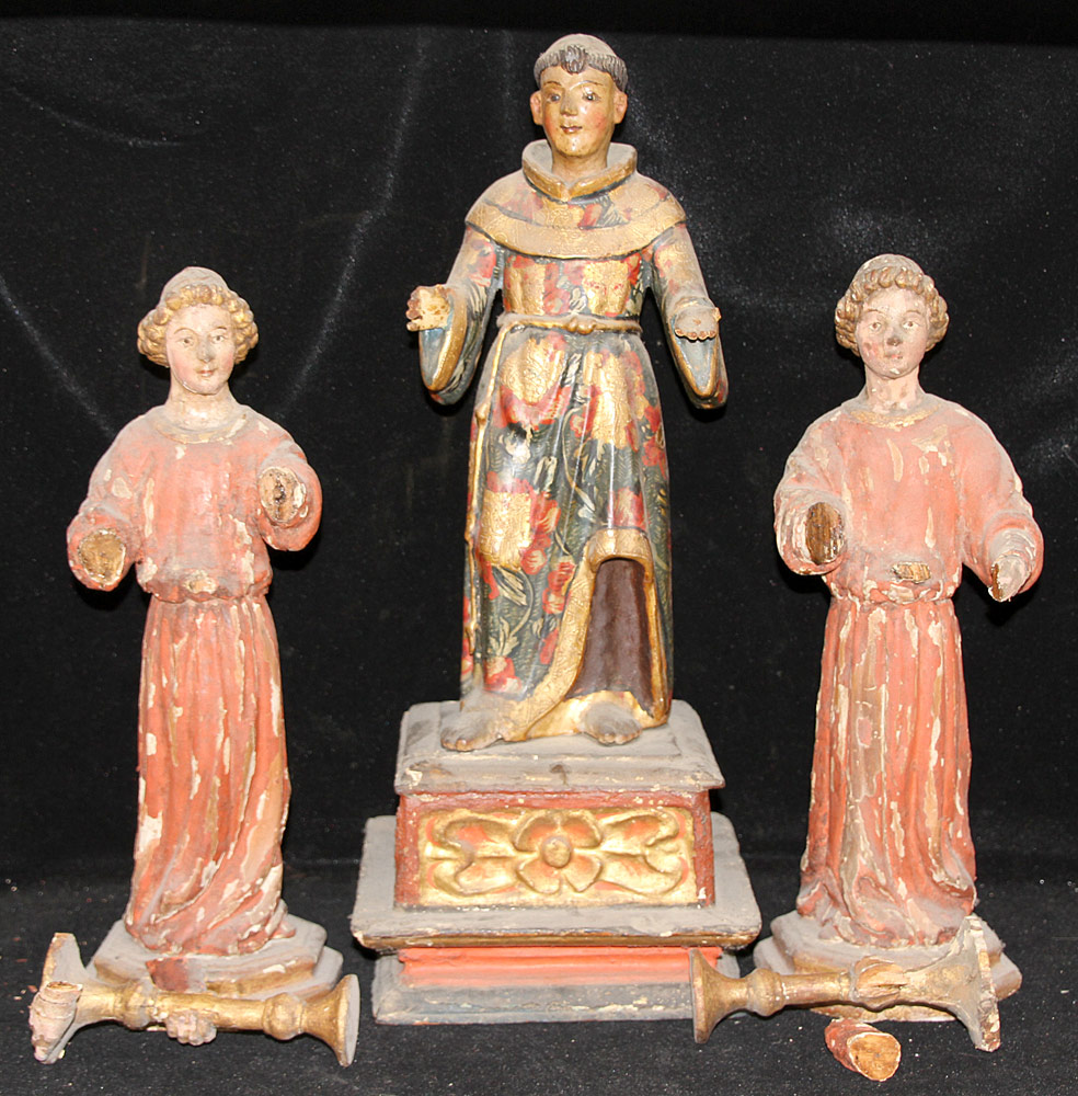 188. 3 Continental Carved & Polychrome-decor. Figures. $206.50