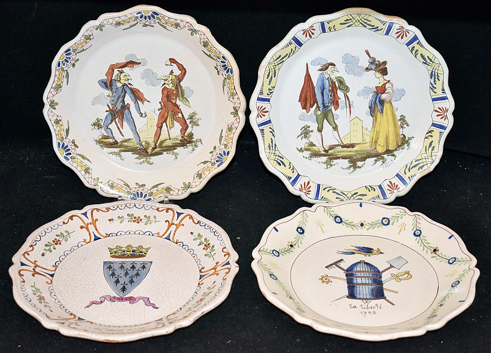 191. Four Continental Faience Pottery Plates. $123