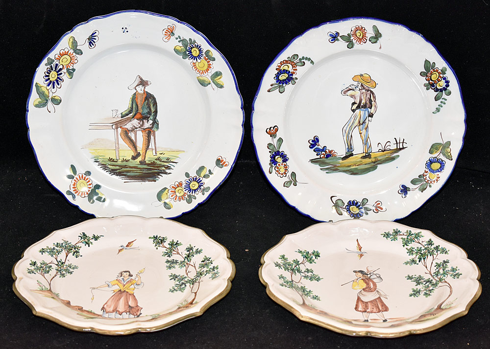 192. Four Continental Faience Pottery Plates. $98.40