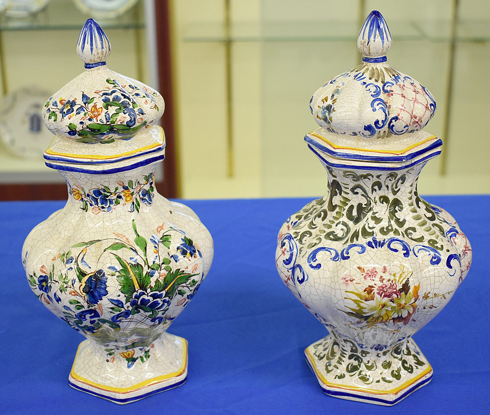 193. Pair of Continental Faience Pottery Covered Urns. $106.20