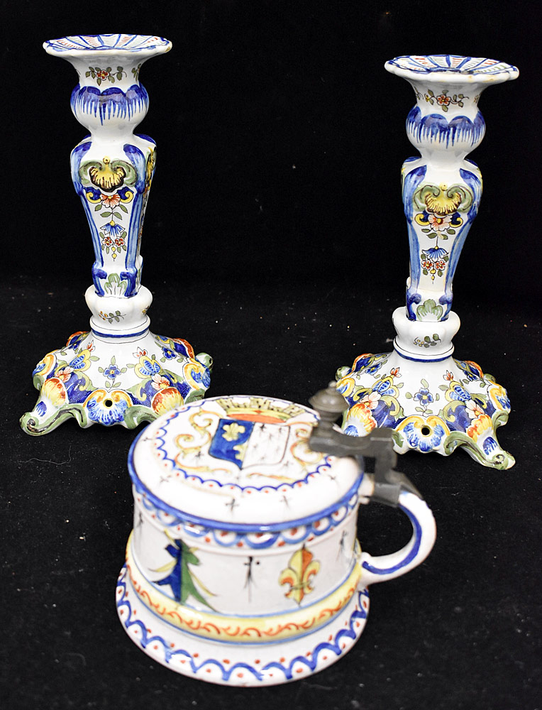 194. Three-piece Continental Faience Pottery Grouping. $94.40