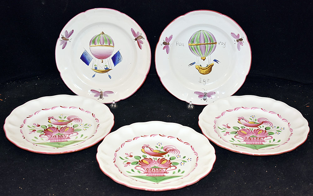 195. Five Continental Faience Pottery Plates. $147.50 $125.00