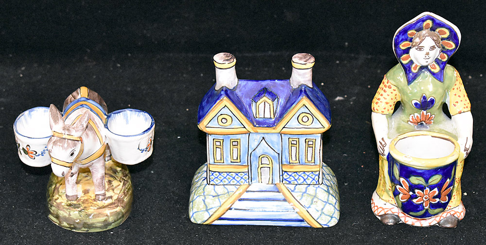 196. Three Pieces of Continental Faience Pottery. $61.50