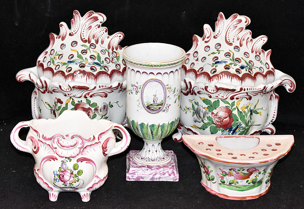 197. Five Pieces of Continental Faience Pottery. $430.50