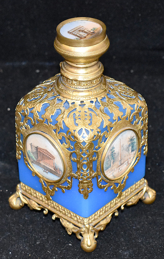 206. French Blue Opaline Glass & Brass Perfume Bottle. $265.50
