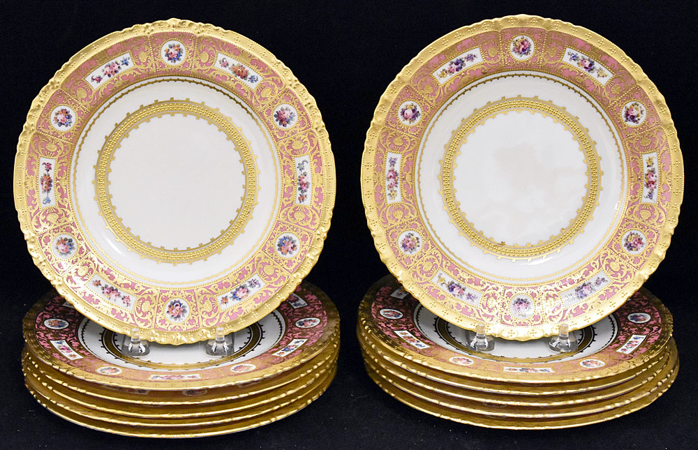 207. Twelve Royal Crown Derby Porcelain Plates. $799.50
