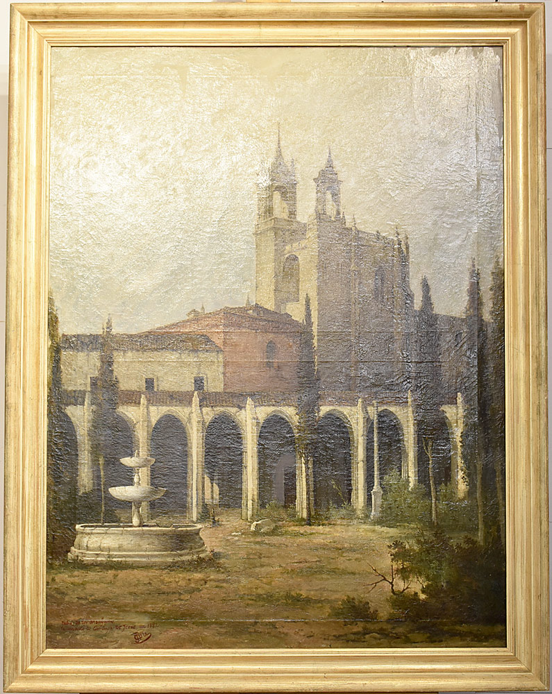 210. T. Cole Oil/Canvas, Landscape with Courtyard, 1882. $767