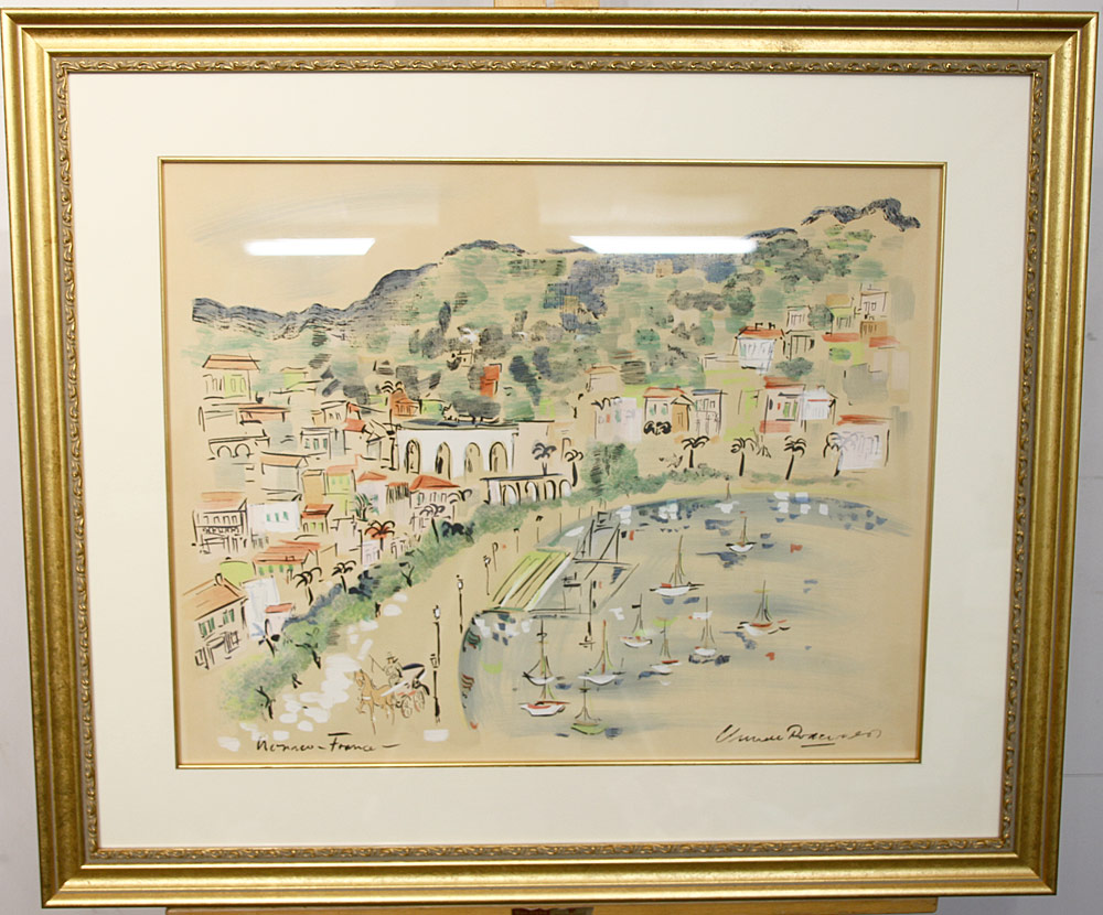 213. French School Watercolor, Village Landscape. $177