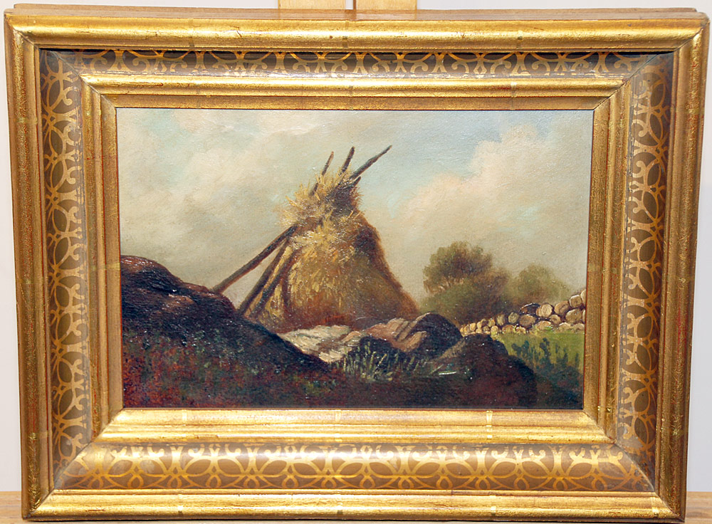 216. Unsigned Oil on Panel, Landscape with Haystack. $70.80