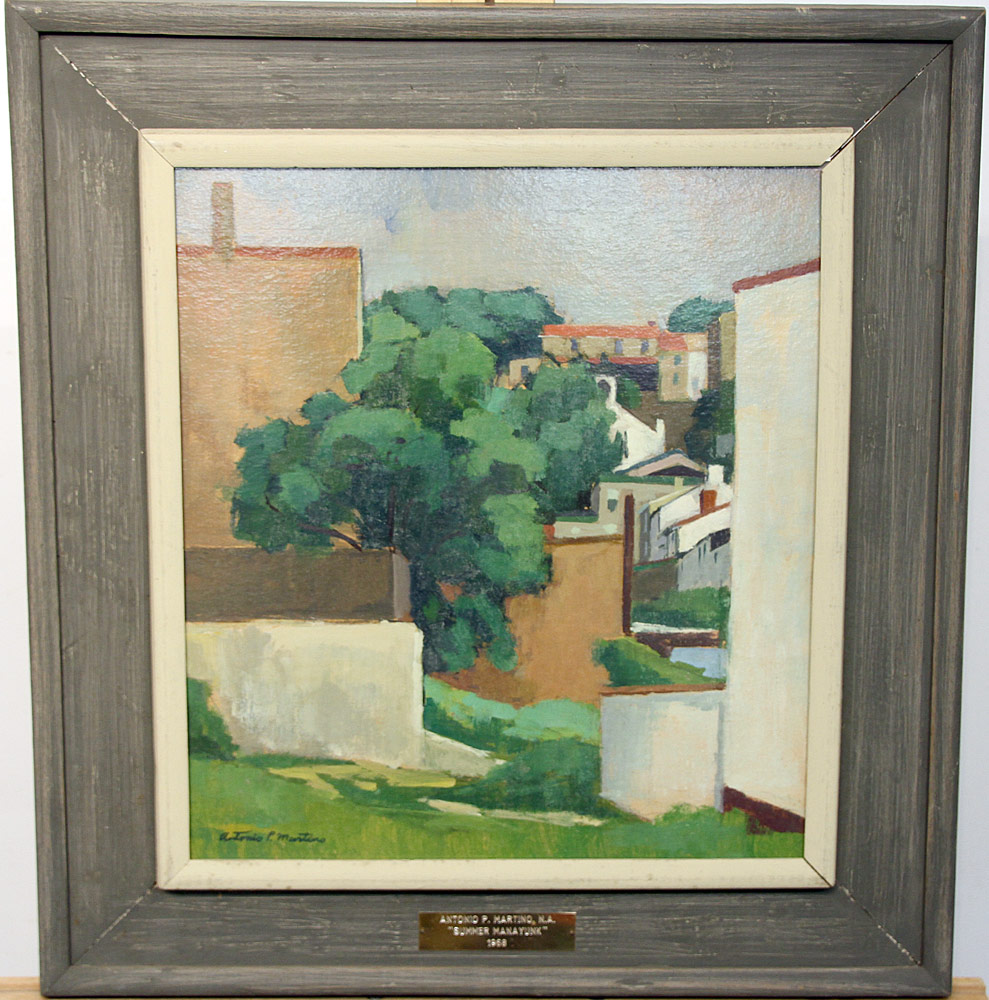 219. Antonio Martino Oil/Panel, Urban Landscape, 1968. $1,045.50