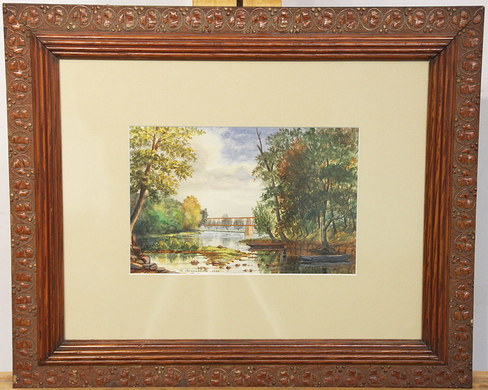 223. Henry Braunstein Watercolor, Boats on the Delaware. $236