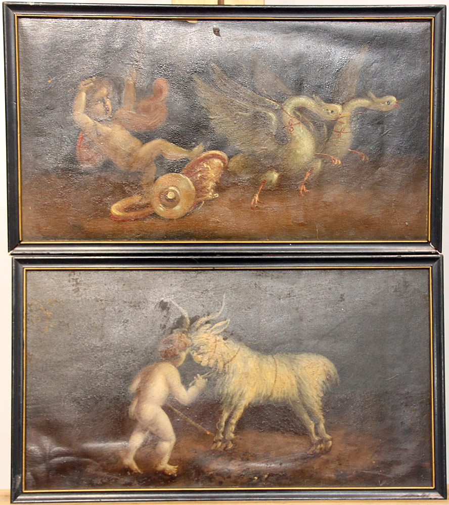 227. Pr. 18th C. Italian School Oils/Paper, Cherubs. $461.25