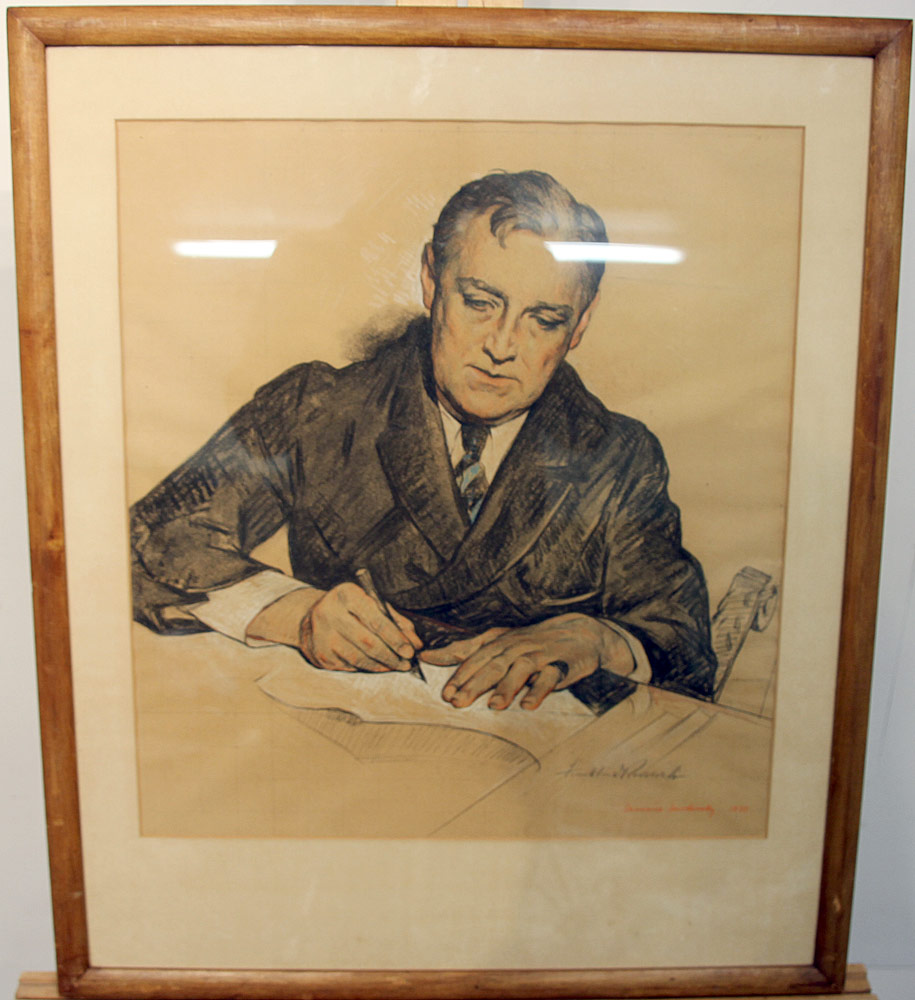 233. Maurice Molarsky Pastel & Pencil, Portrait of FDR. $295